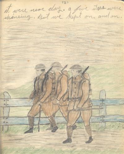 Pencil sketch of three soldiers marching