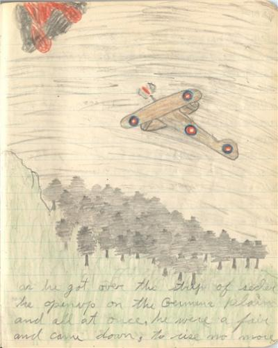 Pencil sketch of airplane in the air and trees below.