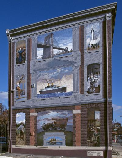 This mural commemorates German-American immigration and the contributions of German-Americans to the new world