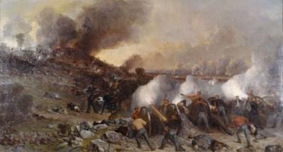Oil on canvas of a battle scene, with soldiers in the foreground firing cannons at advancing soldiers. Smoke fills the scene. One can see battle flags just on the horizon.