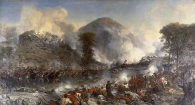 Colorful battle scene with soldiers facing each at close range.