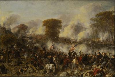 Battle scene with soldiers riding horses and carrying American Flags. Foot soldiers engaged in battle.