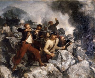 Oil on Canvas battle scene of a red capped rifleman wearing red breeches and black jacket with red trim takes aim. Other soldiers are watching and loading their rifles.