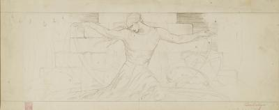 Charcoal on board sketch of the Unity mural, panel 9.
