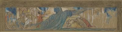 Sketch work for Unity Panel 9, in pastel on brown paper.