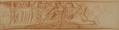 Study done in red chalk on brown paper.