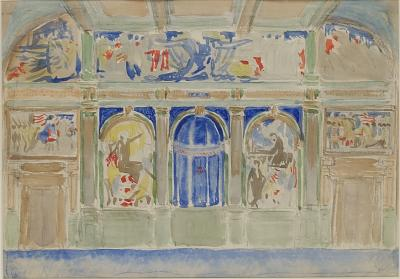 Gouache Study on Paper, /Color study in gouache of the Senate Chamber murals, seen from the back of the room, facing the rostrum