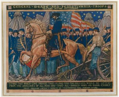 Mural painting of General George Gordon Meade on horseback and Pennsylvania Soldiers in camp before Gettysburg. The American flag, tents, a drummer, and cannon are included in this mural along with the soldiers.