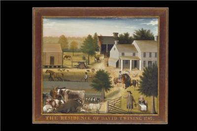 Beautiful oil on canvas of a complete working farm, with barn and other buildings. The Twinings and young Edward are the right foreground. Farm animals are shown as well as other workers.