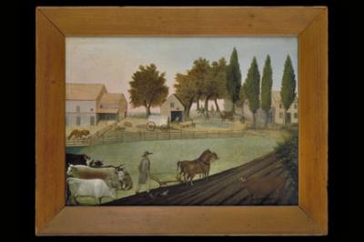 Beautiful oil on canvas painting of Farm house and trees in the background and a farmer plowing in the foreground.