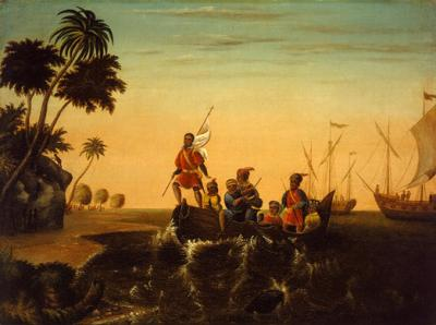 Oil on canvas of ships in the background, still at sea. Columbus and men are depicted coming ashore in the foreground.