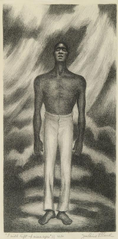 A bare foot and shirtless black man seemingly questioning the powers that be, as he lifts his eyes toward the sky.