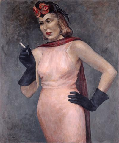 A lady wearing a light pink dress, accented with a black and rose draped scarf and further accessorized with black gloves and black hat, holds a cigarette in her hand.