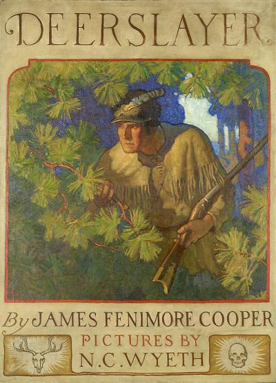 The cover of the title page of Deer Slayer. A hunter sporting buckskin clothing and carrying a rifle, peeks through the trees.