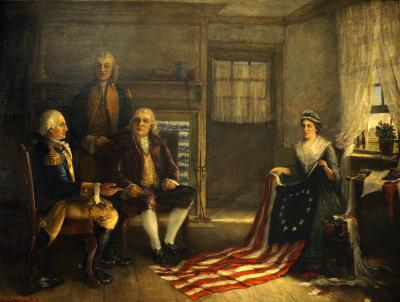 Betsy Ross presents the flag to George Washington, Colonel George Ross, and the Honorable Robert Morris. Washington sits in a chair to the left, Morris sits to his right, and Colonel Ross stands. Betsy Ross, sits holding the flag for display, as it spreads across her lap and across the floor.