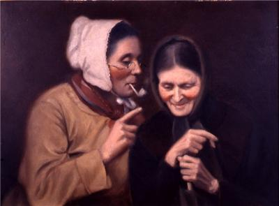 Spectacles on nose, a white bonnet, and a pipe add character to an aging woman as she leans into whisper the latest gossips to her darkly clothed, attentive friend. Oil on canvas