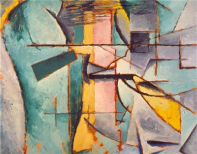 Yellow, teal and grays dominate this abstract painting.