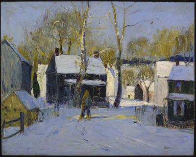 A snowy winter scene is the setting for this oil on composition board.