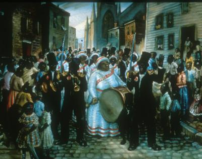 Oil on canvas of a street scene depicting African-American male and female musicians playing music in the street. An audience of children, men, and women are gathered around them.
