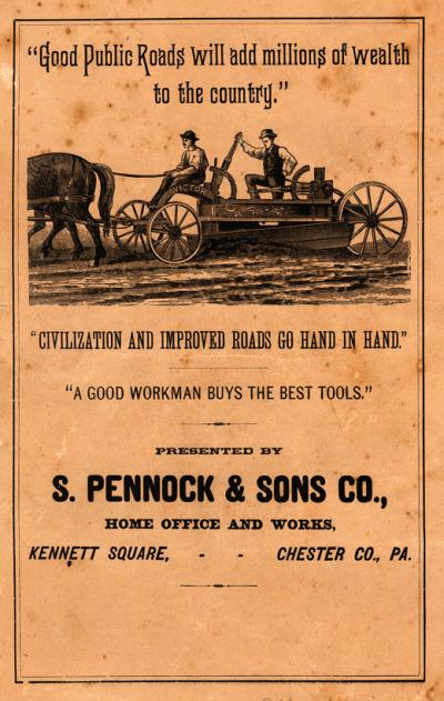 Image of 1885 catalog depicting farmers and a plow on a  dirt road.