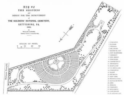 William Saunders, a landscaper, designed this plan for the National Cemetery at Gettysburg. The Cemetery was dedicated on November 19, 1863.