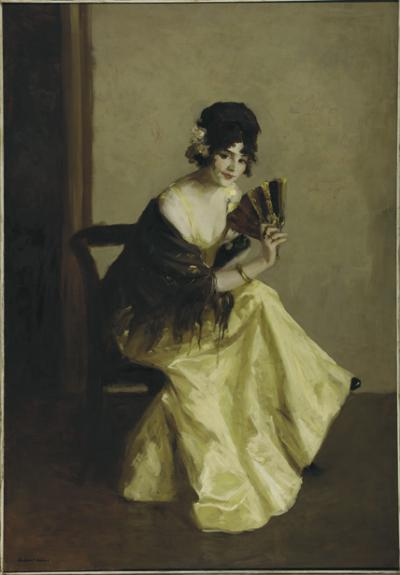 Oil on canvas of a woman holding a fan.