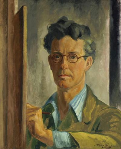 A self portrait of the artist drawing at his easel. He wears a tan jacket and a blue striped shirt.
