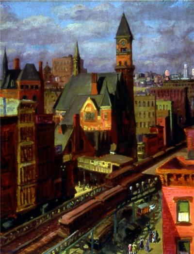 Oil on canvas of a darkened and overcast city scene, depicting high towered buildings, several with steeples, and a railroad station below where passengers are arriving and departing.