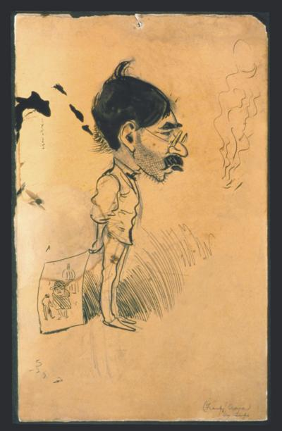 This Ink over graphite features a dark haired, mustached, exaggerated head on a thin out of proportioned body.