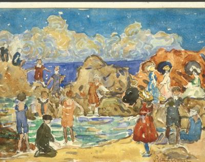 Watercolor on paper of brightly clothed sunbathers playing and sunning on the rocks, in the ocean, and on the beach.  A wave breaks against a blue sky.