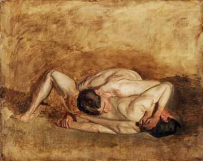 Oil on canvas of two men wrestling.