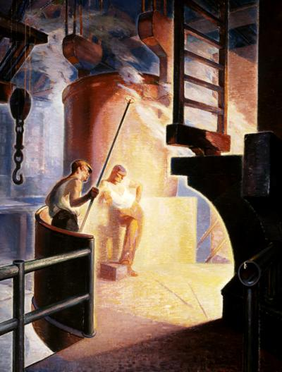 Industrial painting of two steel workers illuminated by the light of the hot steel furnace.
