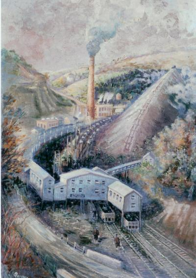 A blue-gray painting of a Bituminous Coal Plant. Smoke billows from the large brick smoke stack as the plant stretches across the stripped mining landscape.