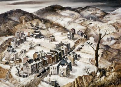 A bleak winter scene of a mining town.
