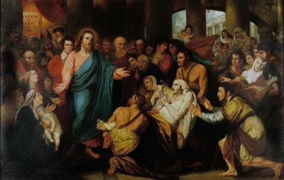 Christ figure with halo and outstretched hands heals the sick.