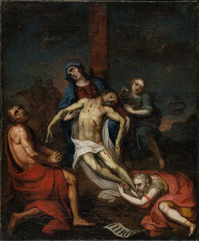 This oil on canvas depicts a  blood covered Christ at the foot of his cross, as his lifeless body is held in the arms of his mother and surrounded by mourning followers.