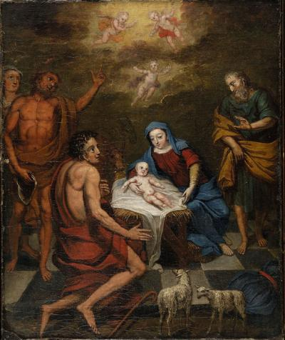 Oil on canvas of the birth of the Christ child is celebrated as angels float above him in the manager bed. Mary and Joseph are at his side, while three visitors and animals are also depicted in the scene.