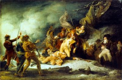 Oil on canvas war image of the Death of General Montgomery depicting a battle between Hessian soldiers and Indians.