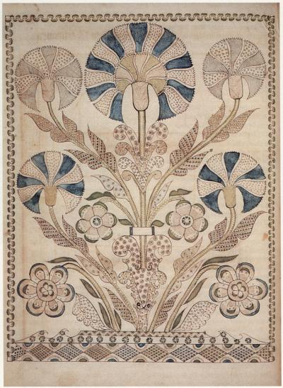 An delicate illustration of flowers in pale blues and greens, surrounded by an decorative border.