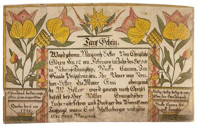 A blessing written in formal German is surrounded by a colorful border of tulips in reds and yellows.