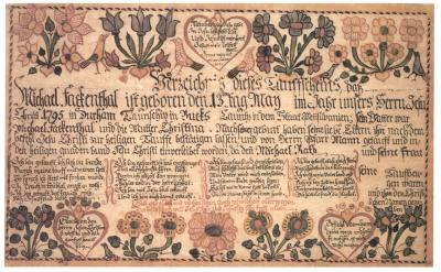 A wordy document with illustrations of hearts, flowers, and birds along the top and bottom borders.
