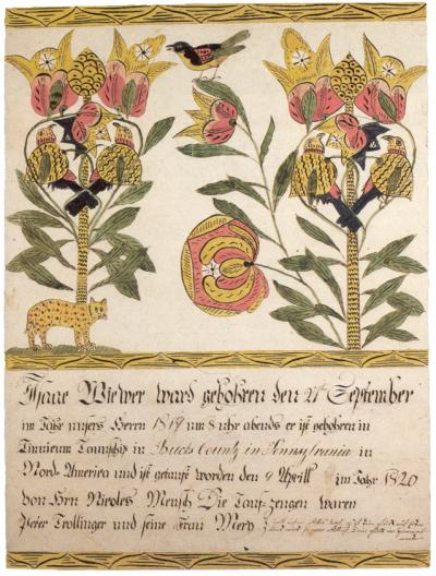 Ornate German text runs along the bottom of this certificate. Two stems of tulips illustrate the space above, both filled with colorful birds. At the bottom of one stem is a small cat-like animal.