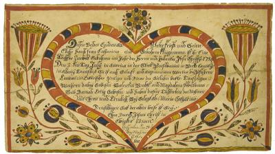 The German text of this document is enclosed in a heart shaped design; the area outside the heart is illustrated with flowers and leaves in reds, blues, greens and yellows