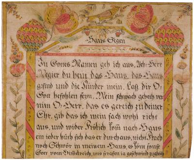 Ornate handwriting in German is surrounded by flowers in yellows and reds.