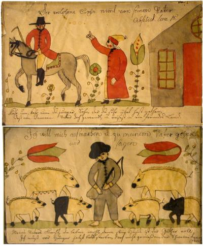 Two primitive illustrations: the first shows a man riding a horse away from another man and a house. The second illustration shows a barefoot man surrounded by pigs.