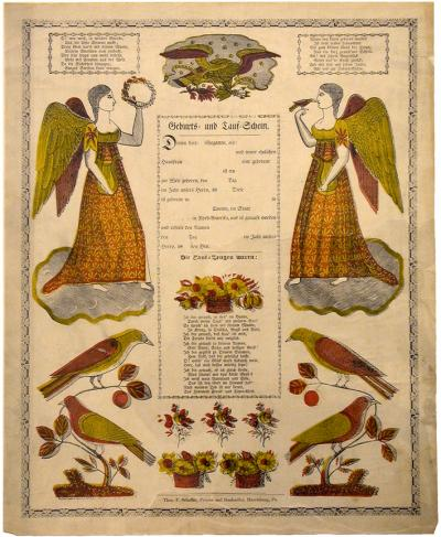 This commercially printed document is decorated with angels and birds around an enclosed area. In this area is space for personalization above a poem in German.