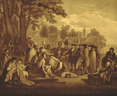 A tinted version of the famous scene of Penn meeting with Native Americans under a large elm tree.