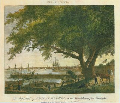 An etching showing a giant elm tree on the banks of a busy river.