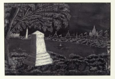 A charcoal drawing of a short obelisk marker in a park on the banks of a river.