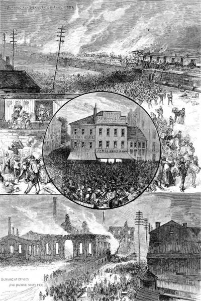 A central image of the mass mob burning the Machine Shops during the strike, surrounded by other strike images.